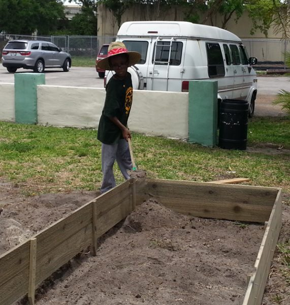 A very enthusiastic student gardener!