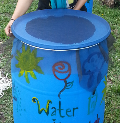 Covered rain barrel with mesh