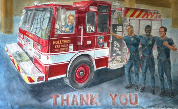Completed Fire Truck Engine 74 Painting
