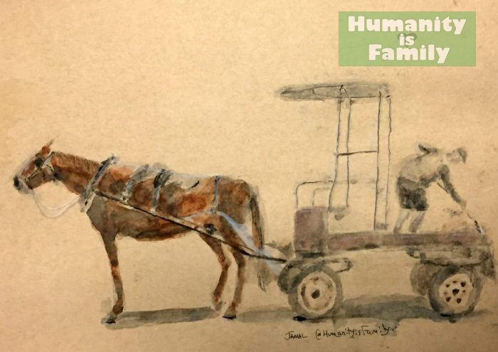 Painting of a worker, his horse and cart in Cuba